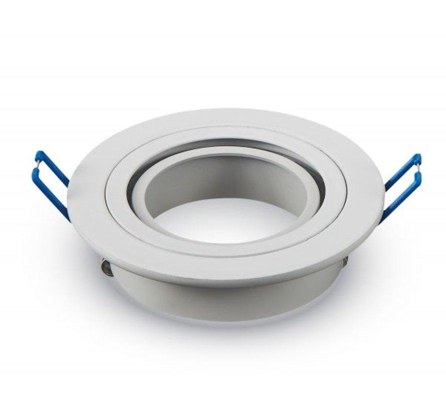 Indbygningsspot Hvid rund - justerbar - Indvendig mål 75mm - Udvendig diameter 92mm