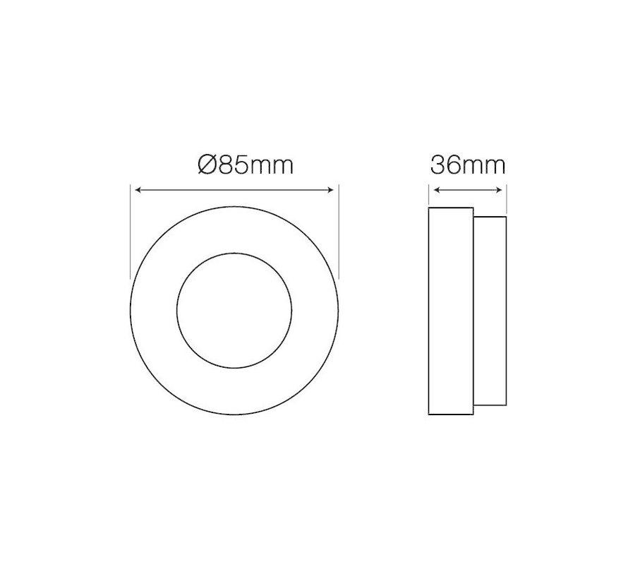 Indbygningsspot Hvid rund - Badeværelse IP44 - Indvendig mål 60mm - Udvendig diameter 85mm