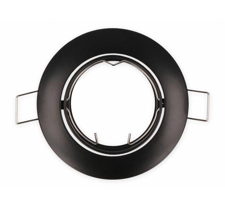Indbygningsspot Sort rund - Justerbar - Indvendig mål 80mm - Udvendig diameter 92mm