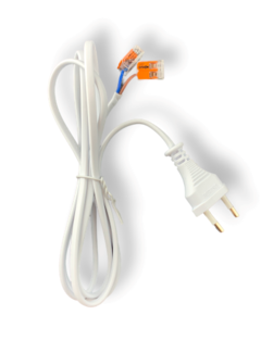 150 cm strømkabel 2-polet inkl. 2 stk. WAGO kronmuffe - 230V - 0,75 mm²