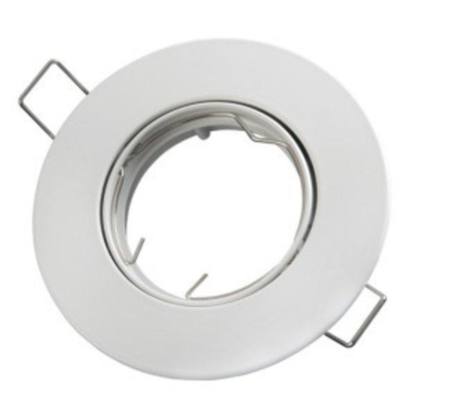 Indbygningsspot hvid - justerbar - Indvendig mål 75mm - Udvendig diameter 92mm