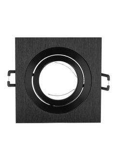 Indbygningsspot sort firkant - Justerbar Indvendig mål 74mm Udvendig diameter 92mm