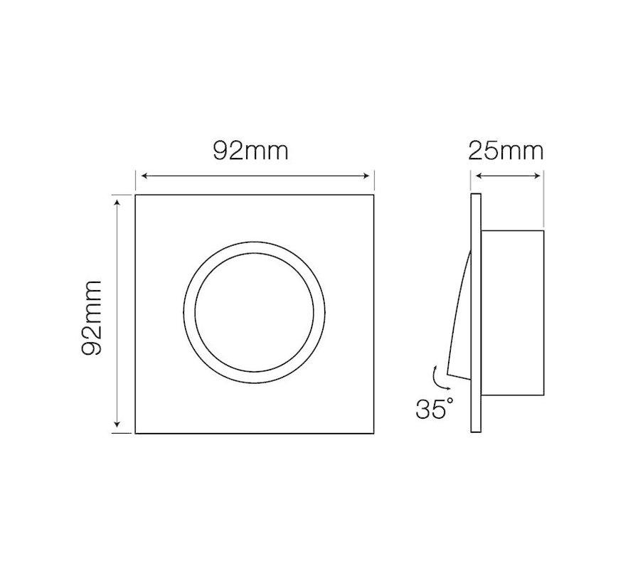 Indbygningsspot sort firkant - Justerbar - Indvendig mål 74mm - Udvendig diameter 92mm