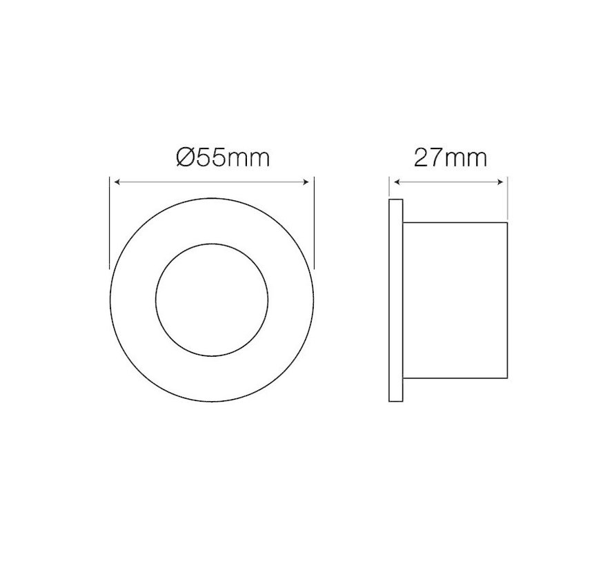 LED GU11/MR11 spot - Sort rund - Vandtæt IP44 - Indvendig mål 40mm - Udvendig diameter 55mm
