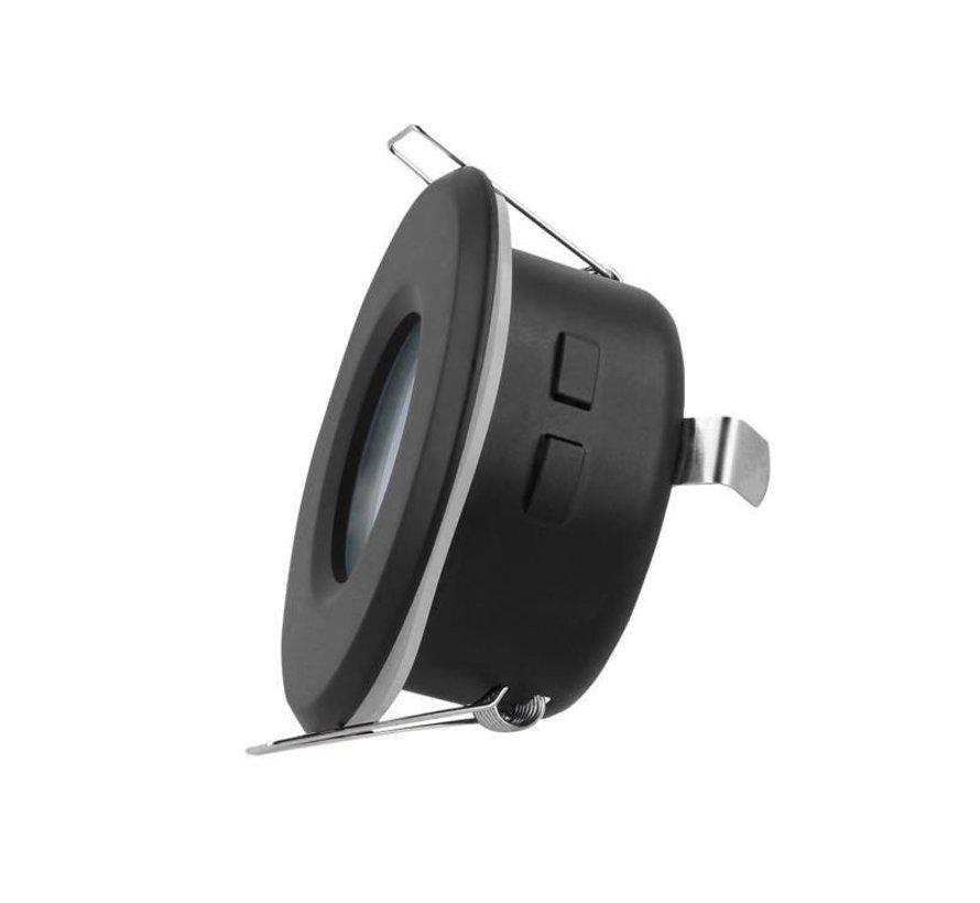 LED Indbygningsspot sort - Badeværelse IP44 - Indvendig mål 73mm - Udvendig diameter 83mm