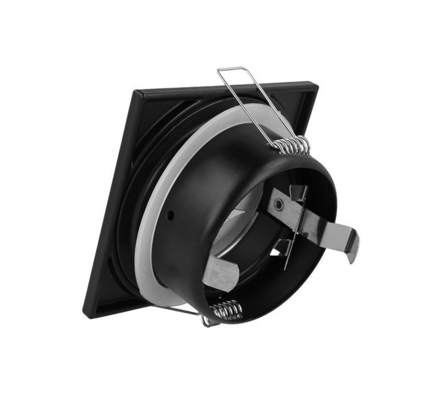 LED Indbygningsspot sort firkantet - Badeværelse IP44 - Indvendig mål 73mm - Udvendig diameter 84mm