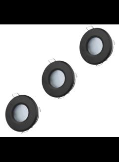 LED Indbygningsspot sæt 3 stk dæmpbar Badeværelse IP44 - Sort Rundt 5,5W 4000K naturligt hvidt lys Indvendig mål 74mm