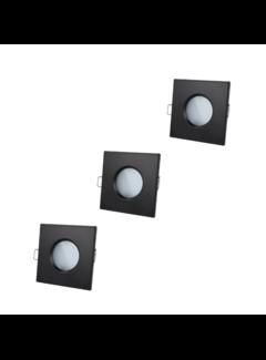 LED Indbygningsspot sæt 3 stk dæmpbar Badeværelse IP44 - Sort firkantet 5,5W 4000K naturligt hvidt lys Indvendig mål 74mm