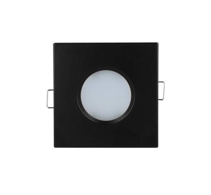 LED Indbygningsspot sæt 3 stk dæmpbar - Badeværelse IP44 - Sort firkantet 5,5W 4000K naturligt hvidt lys - Indvendig mål 74mm