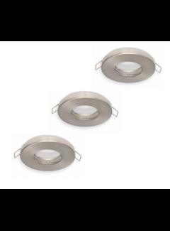 LED Indbygningsspot sæt 3 stk dæmpbar Badeværelse IP44 - Satin Rundt 5,5W 4000K naturligt hvidt lys Indvendig mål 74mm