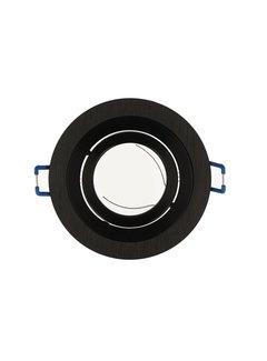 Indbygningsspot Sort aluminium rund Justerbar - Indvendig mål 80mm - Udvendig diameter 92mm