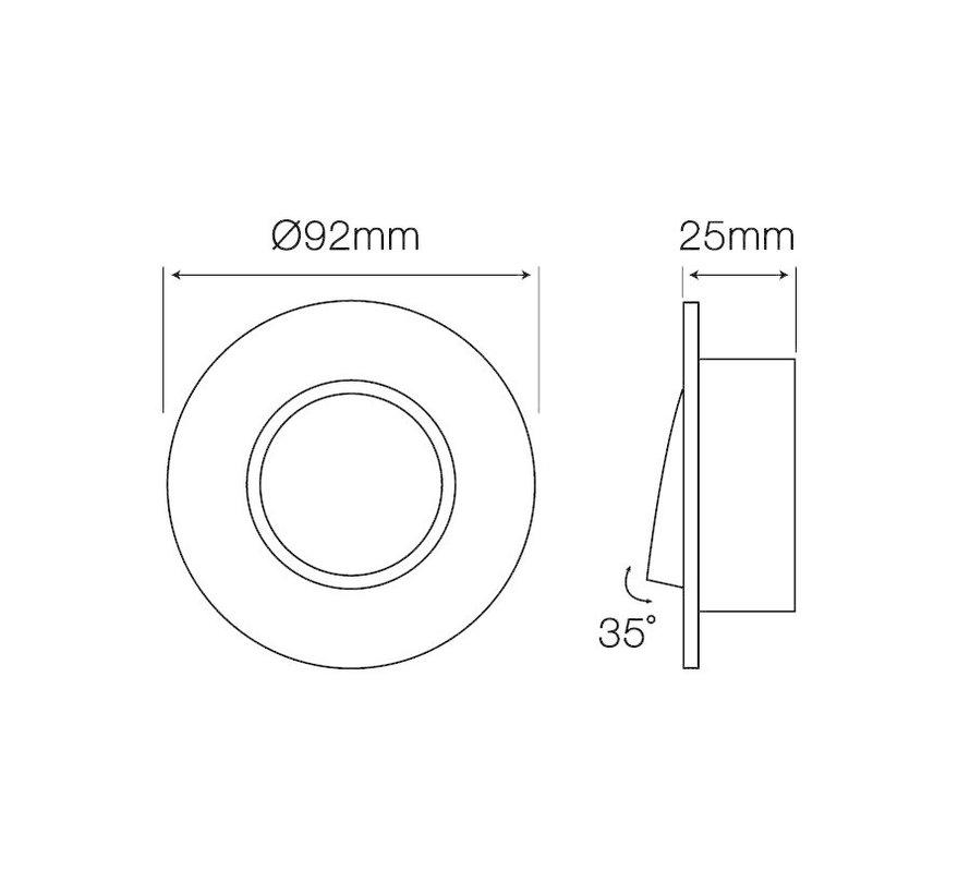 Indbygningsspot Sort aluminium rund - justerbar - Indvendig mål 80mm - Udvendig diameter 92mm