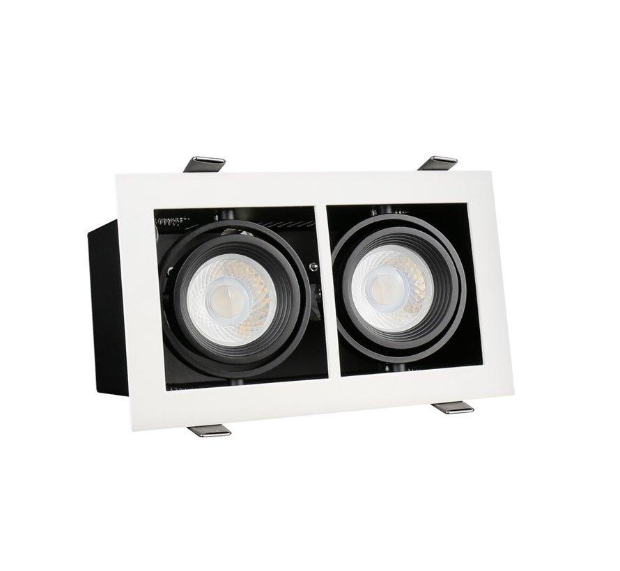 LED Downlight armatur - Rektangulær med 2 GU10-fatning