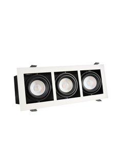 LED Downlight armatur Rektangulær med 3 GU10-fatning