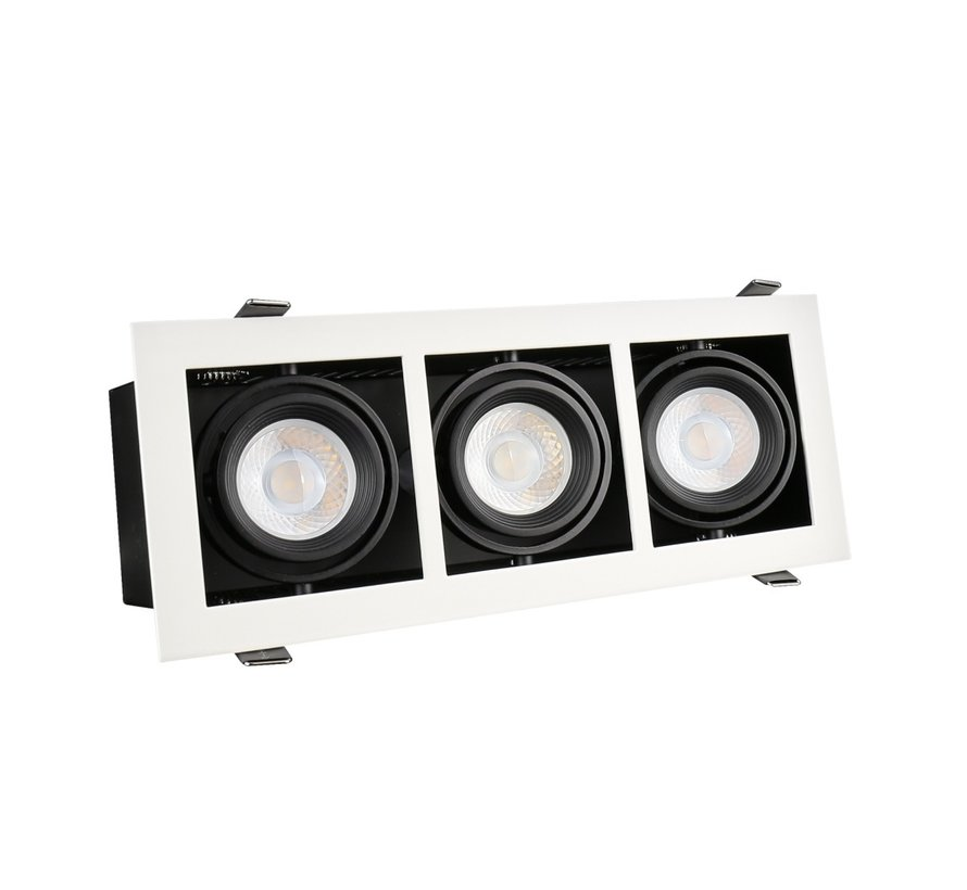 LED Downlight armatur - Rektangulær med 3 GU10-fatning