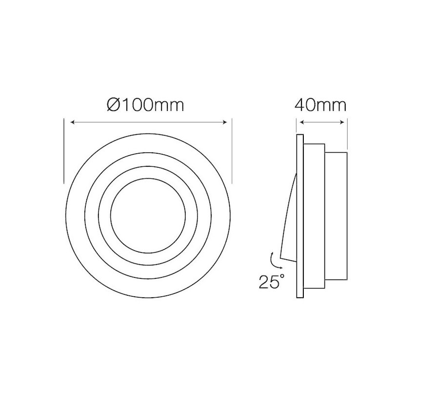 Indbygningsspot Hvid med sort inderside - justerbar - Indvendige mål 90mm - Udvendig diameter 100mm