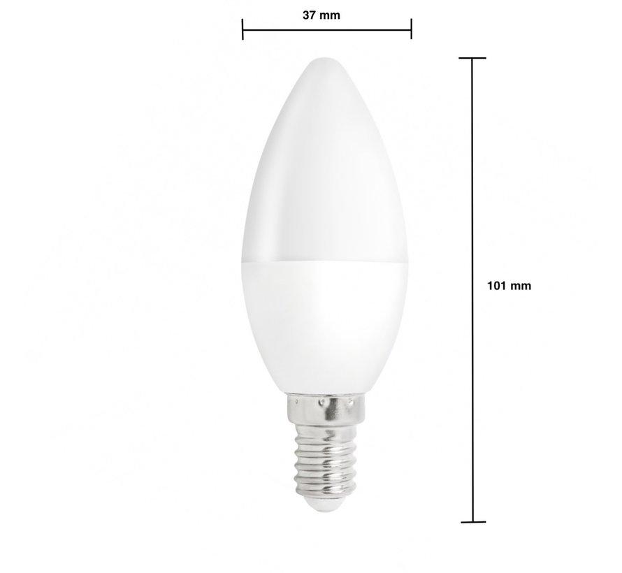 LED pære i kerteform - E14-fatning - 6W erstatter 50W - 3000k varmt hvidt lys