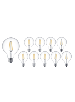Pakke med 10 stk. - E27 LED-pære - XL GLOBE Dæmpbar - 4W erstatter 40W - 2700K varmt hvidt lys