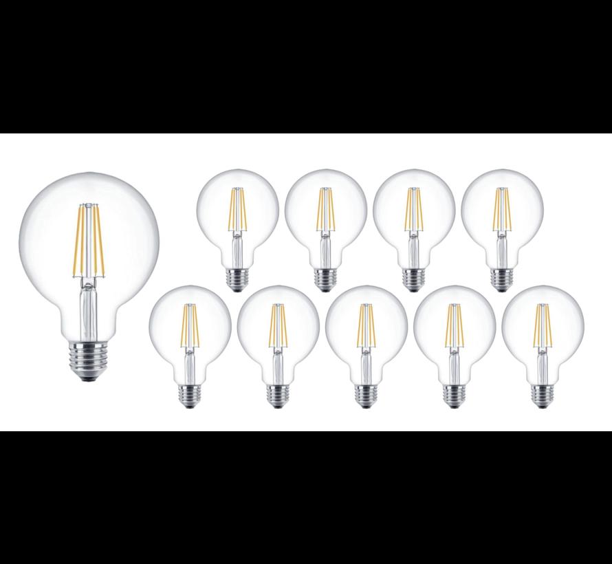 Pakke med 10 stk. - E27 LED-pære - XL GLOBE - Dæmpbar - 4W erstatter 40W - 2700K varmt hvidt lys