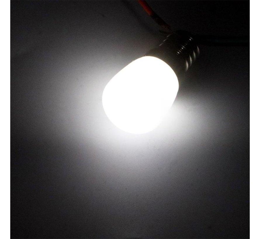 LED køleskabspære - E14 fatning - 2W erstatter 16W - Koldt hvidt lys 6000K - 23*55mm
