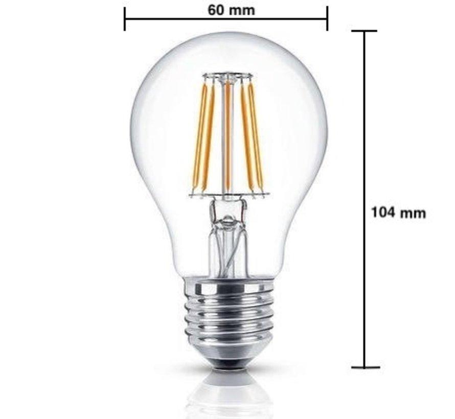 LED glødelampe - Dæmpbar - E27 A60 - 8W erstatter 80W - 2700K varmt hvidt lys