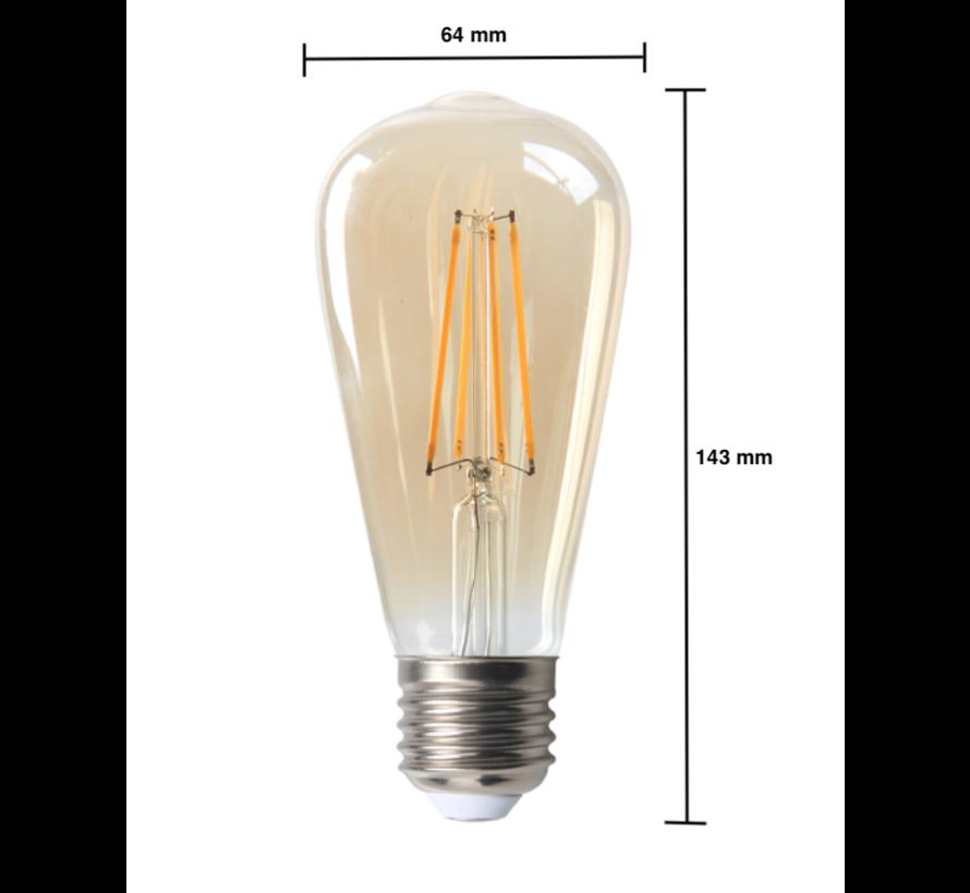 LED glødelampe - Tall - Dæmpbar - E27-fatning - 6W erstatter 60W - 2200K ekstra varmt hvidt lys