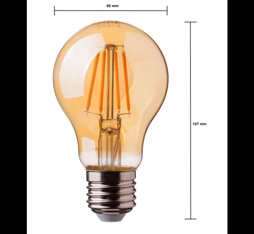 LED glødelampe dæmpbar - E27 A60 - 8W erstatter 60W - 2200K ekstra varmt hvidt lys