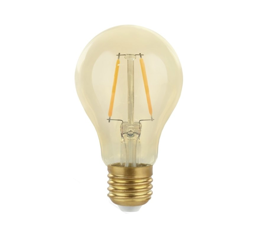 LED glødelampe - E27 fatning A60 - 2W erstatter 25W - 2500K ekstra varmt hvidt lys