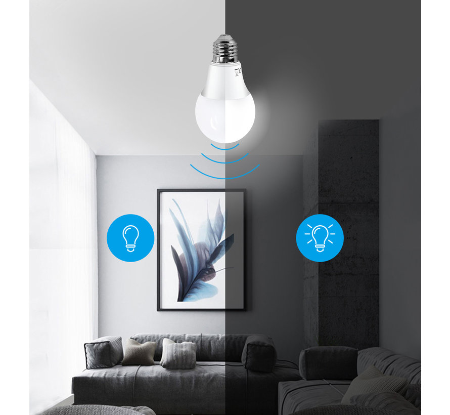 LED pære med dag/natsensor - E27 fatning - 8W erstatter 50W - Lysfarve valgfri
