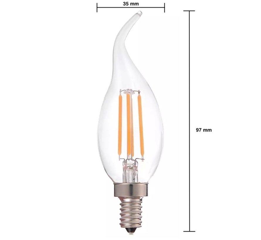 Dæmpbar LED pære - E14 fatning C37 - 5W erstatter 45W - 2700K varmt hvidt lys