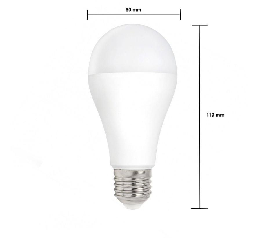 LED pære - E27 fatning - 18W erstatter 180W - Varmt hvidt lys 3000K