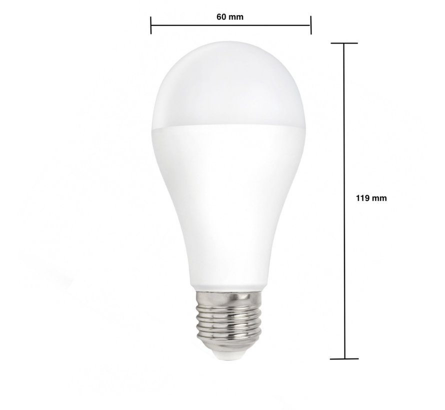 LED pære - E27 fatning - 18W erstatter 180W - Koldt hvidt lys 6000K