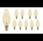 Pakke med 10 stk. - LED glødelampe - E14 fatning C35 - 2W erstatter 25W - 2500K ekstra varmt hvidt lys