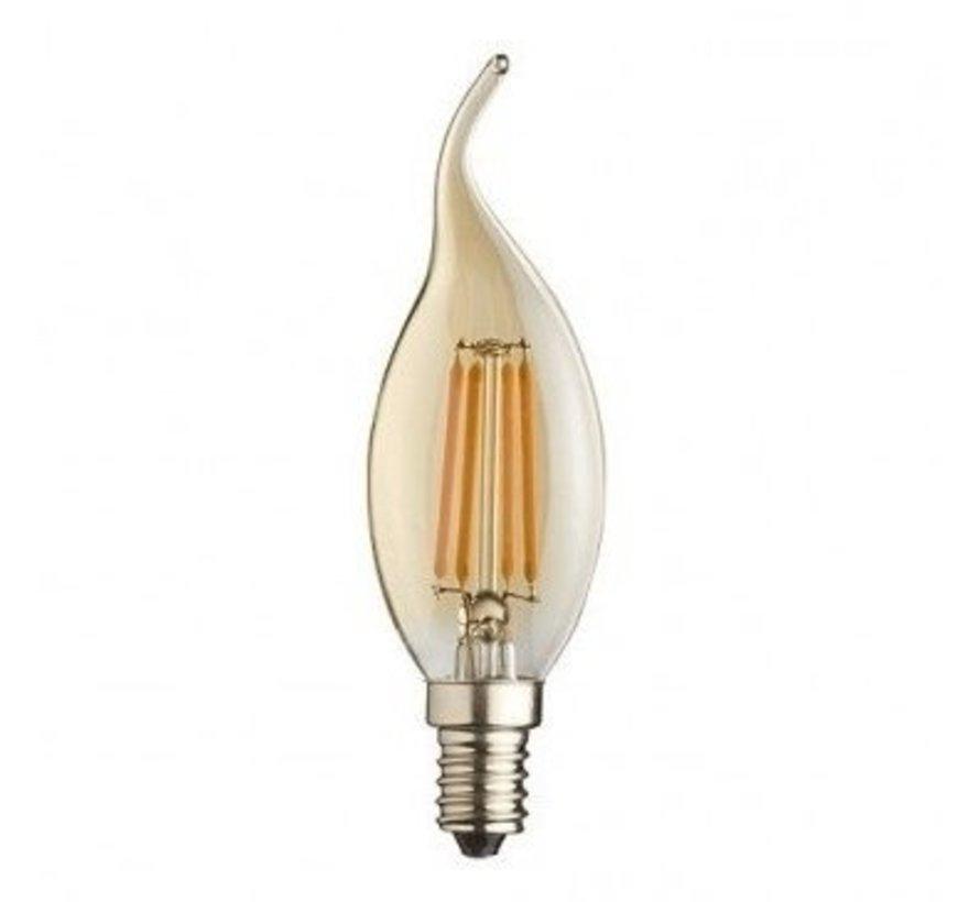 Pakke med 10 stk. - E14 LED-pære - F35 - 5W erstatter 50W - 2200K ekstra varmt hvidt lys - Dæmpbar