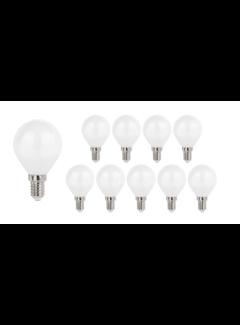 Pakke med 10 stk. - E14 LED-pærer - Type G45 - 6W erstatter 50W Lysfarve valgfri