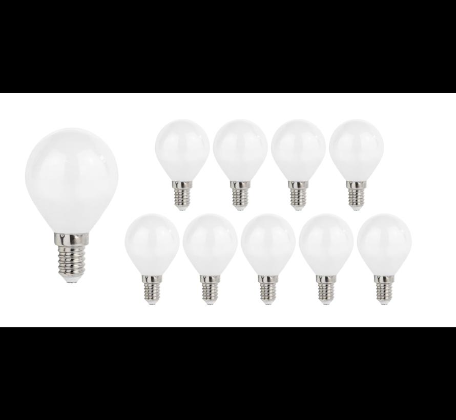 Pakke med 10 stk. - E14 LED-pærer - Type G45 - 6W erstatter 50W - Lysfarve valgfri