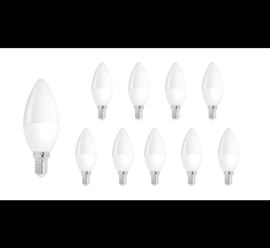 Pakke med 10 stk. - E14 LED-pære i kerteform - Type C37 - 6W erstatter 50W - 3000K varmt hvidt lys