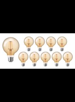 Pakke med 10 stk. - E27 LED-pære - XL GLOBE Dæmpbar - 4W erstatter 40W - 2200K ekstra varmt hvidt lys