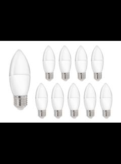 Pakke med 10 stk. - E27 LED-pære i kerteform Type C37 3W erstatter 25W - 3000K varmt hvidt lys