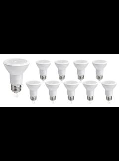 Pakke med 10 stk. - E27 LED-pærer - Type PAR20 - 8W erstatter 60W - Lysfarve valgfri