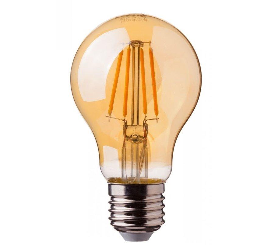 Pakke med 10 stk. - LED dæmpbar glødelampe - E27 A60 - 5W erstatter 50W - 2200K ekstra varmt hvidt lys - 2 års garanti
