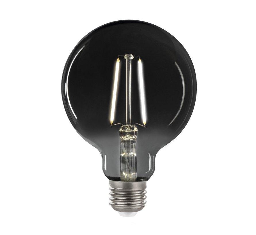 LED glødelampe i røget glas - XL GLOBE G125 - E27 fatning 4,5W - 4000K naturligt hvidt lys