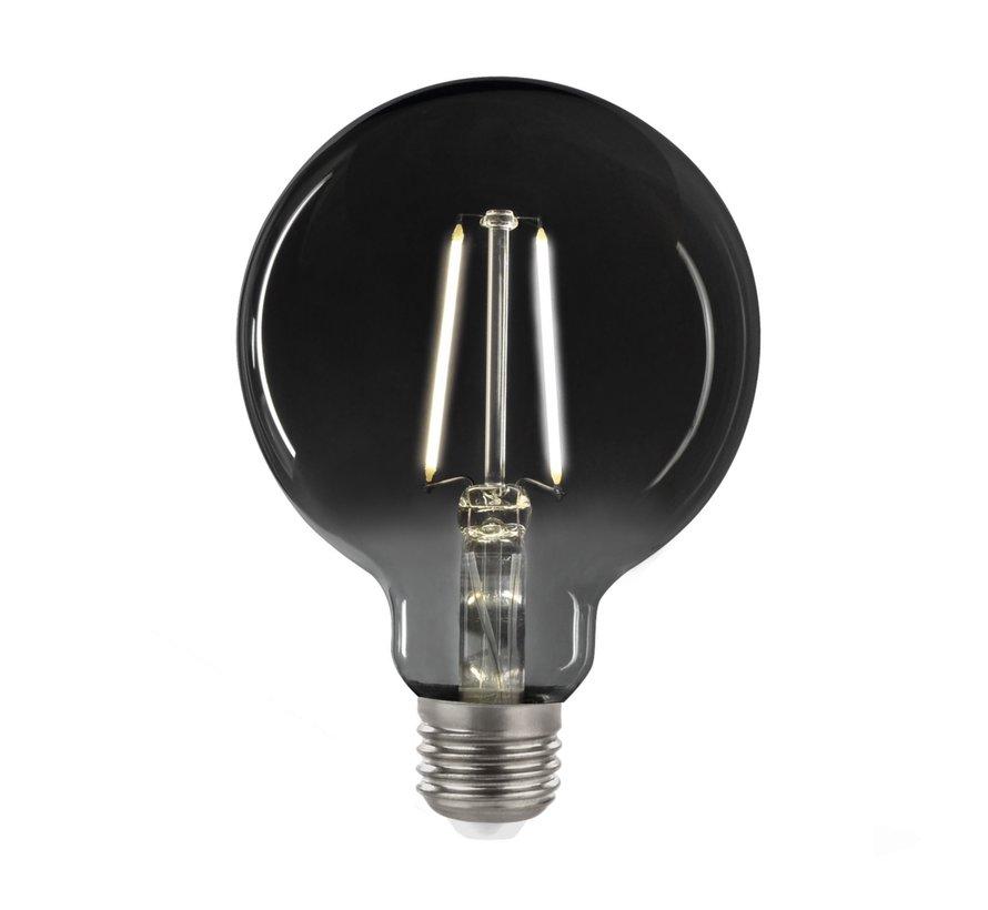LED glødelampe i røget glas - GLOBE G95 - E27-fatning 4,5W - 4000K naturligt hvidt lys