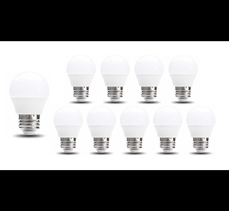 Pakke med 10 stk. - E27 LED-pære - 6W erstatter 50W - G45 - Lysfarve valgfri