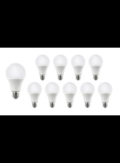 Pakke med 10 stk. - E27 LED-pærer - Type A60 - 9W erstatter 70W Lysfarve valgfri