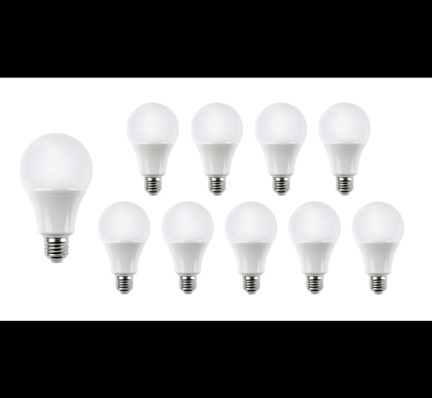 Pakke med 10 stk. - E27 LED-pærer - Type A60 - 9W erstatter 70W - Lysfarve valgfri