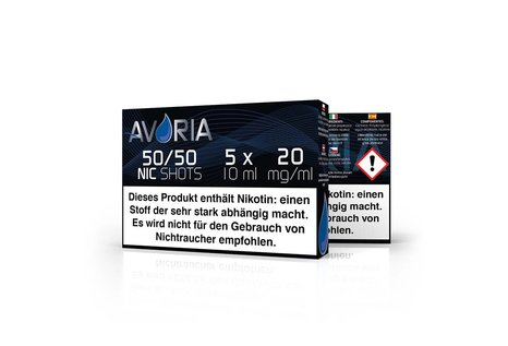 Avoria Deutsche Liquid Base Shot, 5x10ml mit 20 mg/ml Nikotin, versch. Verhältnisse