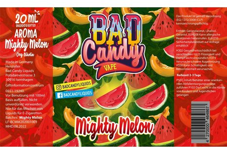 Bad Candy Liquids Mighty Melon Aroma von Bad Candy Vape - Aroma zum Liquid Mischen mit einer Base