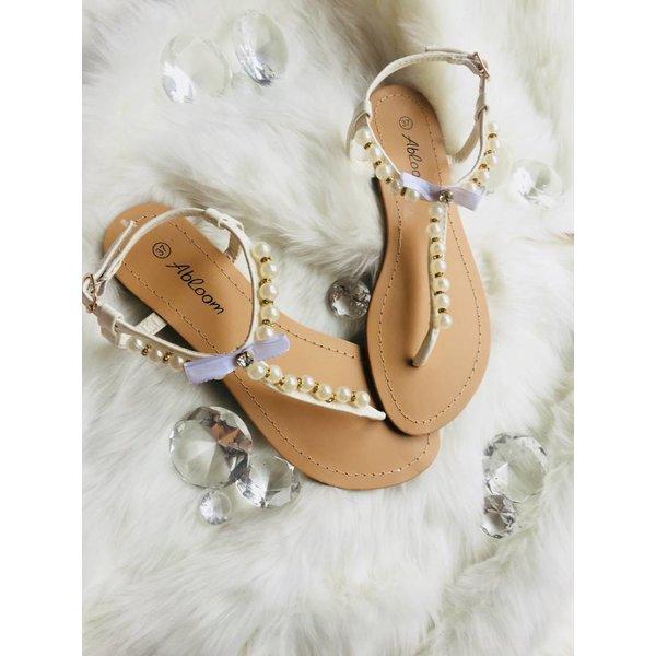 Parel sandalen wit