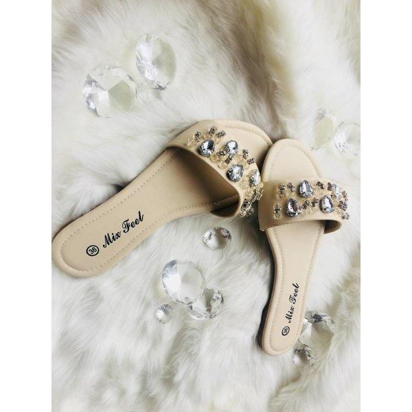 Bandage slippers beige